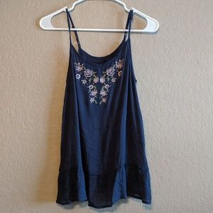 Tops - Boho Navy Embroidered Tank